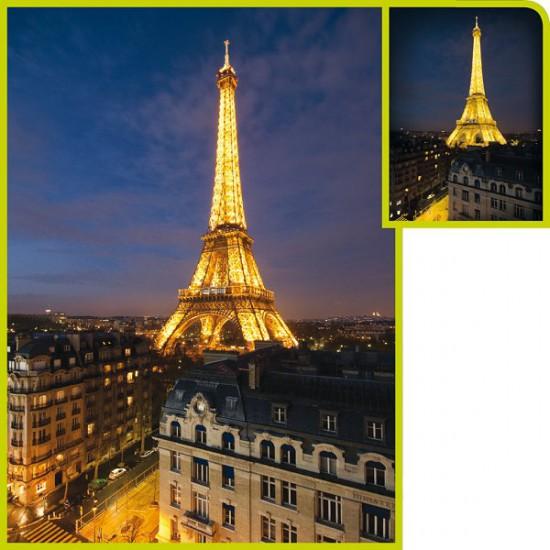 Puzzle 1000 pièces fluorescent - Paris by night - Clementoni-39210