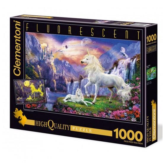 Puzzle 1000 pièces fluorescent : Licornes au crépuscule - Clementoni-39285
