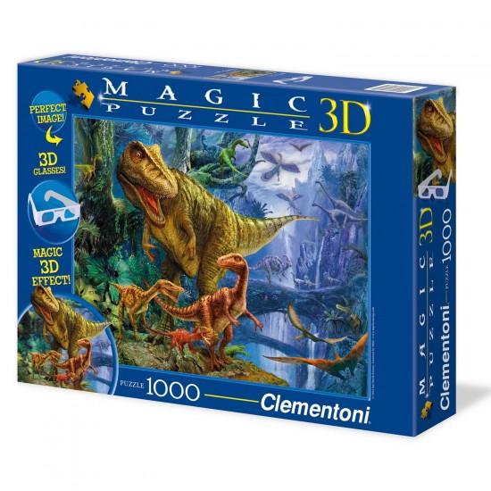 Puzzle 1000 pièces Magique 3 D : Vallée des dinosaures - Clementoni-39261