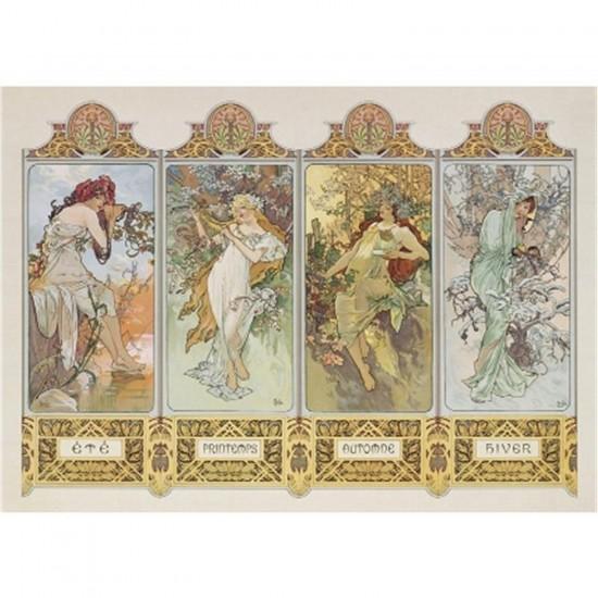 Puzzle 1000 pièces - Mucha : Les 4 saisons - Clementoni-39177