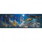 Puzzle 1000 pièces panoramique : Bonne nuit les héros Disney