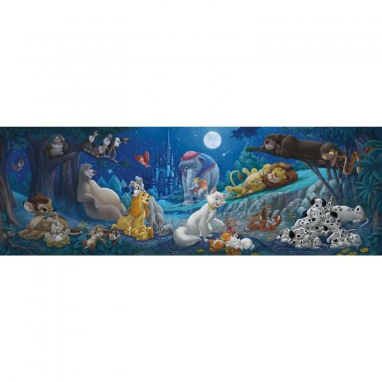 Puzzle 1000 pièces panoramique : Bonne nuit les héros Disney - Clementoni-39245