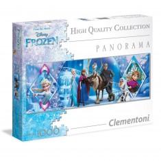 Puzzle 1000 pièces panoramique : La Reine des Neiges