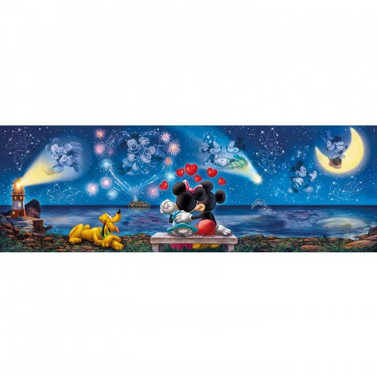Puzzle 1000 pièces panoramique : Micket et Minnie - Clementoni-39287