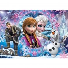 Puzzle 104 pièces : La Reine des Neiges Frozen : Bienvenue à Arendelle