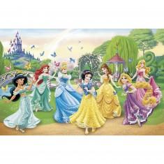 Puzzle 104 pièces : Les princesses Disney et les papillons