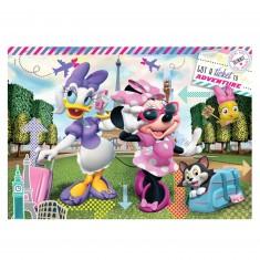 Puzzle 104 pièces : Minnie et Daisy à Paris