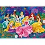 Puzzle 104 pièces Effet 3D : Princesses Disney