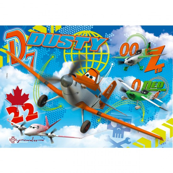 Puzzle 104 pièces maxi : Planes : Dusty, Zed et Ned - Clementoni-23646