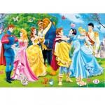 Puzzle 104 pièces maxi : Princesses Disney : Les princesses et leurs princes