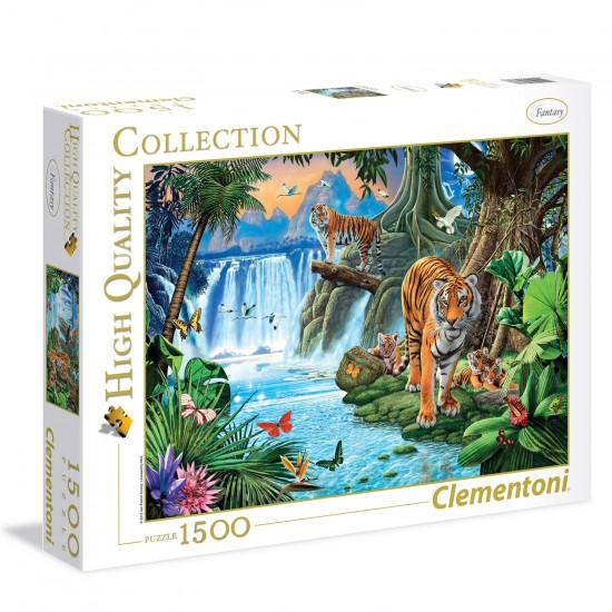 Puzzle 1500 pièces : Famille de tigre - Clementoni-31636