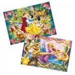Puzzle 2 x 20 pièces : Princesses Disney : Blanche Neige et Raiponce
