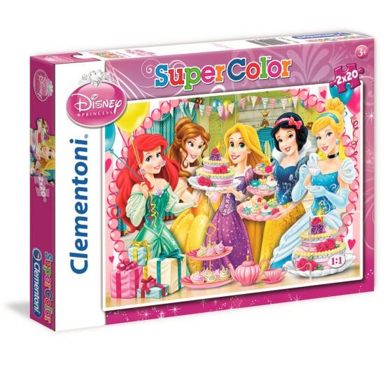 Puzzle 2 x 20 pièces : Princesses Disney : Joyeux anniversaire ! - Clementoni-24732
