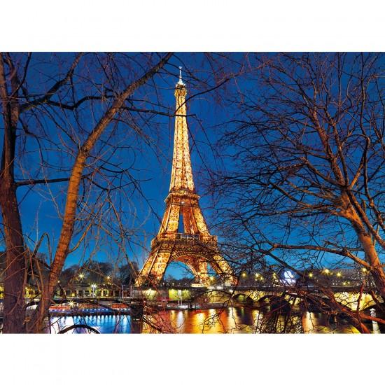 Puzzle 2000 pièces : Tour Eiffel illuminée - Clementoni-32554