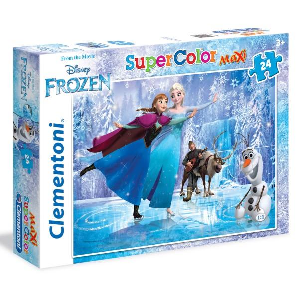Puzzle 24 Pièces Maxi : La Reine des Neiges patin à glace - Clementoni-24474