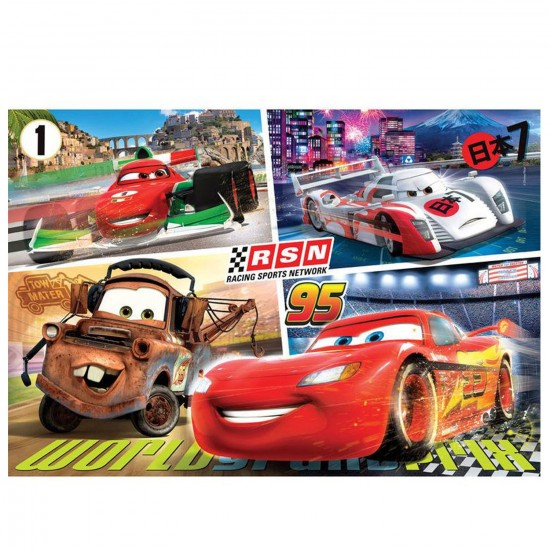 Puzzle 250 pièces : Cars : Flash et les concurrents de la course au Japon - Clementoni-29733