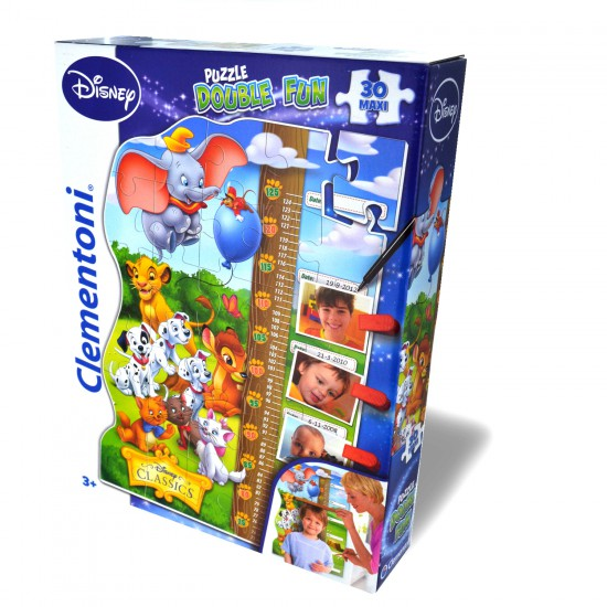 Puzzle 30 pièces maxi : Puzzle Double Fun Toise Disney Classics - Clementoni-20309