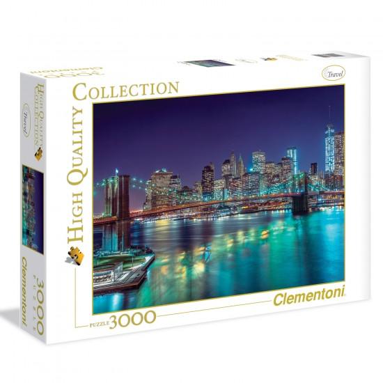 Puzzle 3000 pièces : New-York de nuit - Clementoni-33544