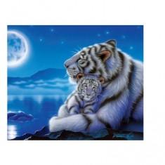 Puzzle 500 pièces - Maman tigre blanc et son bébé au clair de la lune
