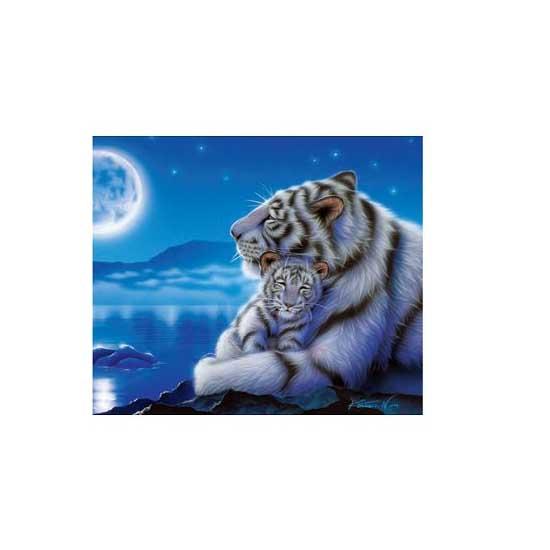 Puzzle 500 pièces - Maman tigre blanc et son bébé au clair de la lune - Clementoni-30279