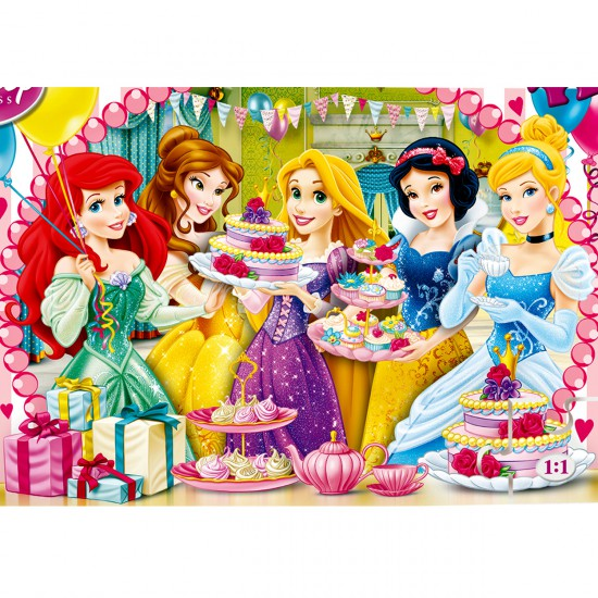 puzzle 60 pi ces princesses disney joyeux anniversaire puzzle clementoni rue des puzzles. Black Bedroom Furniture Sets. Home Design Ideas
