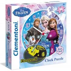 Puzzle Horloge 96 pièces : Phosphorescent : La Reine des Neiges