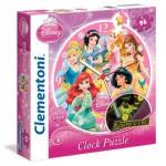 Puzzle horloge 96 pièces fluorescent Princesses Disney