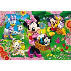 Puzzle cadre 15 pièces : Mickey et ses amis avec les animaux