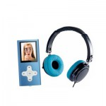 Casque stéréo Hi-Fi Noir/Turquoise + Lecteur MP4 bleu 4 GO