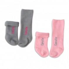 Chaussettes roses et grises pour poupon 36 cm