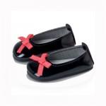 Chaussures Les chéries : Ballerines noires avec noeud rose