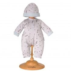 Ensemble bébé 36 cm : Pyjama Gris Etoilé & Bonnet