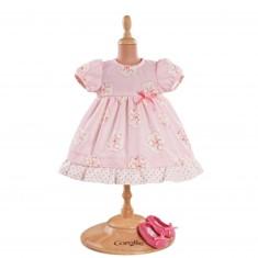 Ensemble bébé 42 cm : Robe rose & ballerines