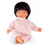 Les minis de Corolle Asiatique : Pyjama rayé rose et blanc avec bavoir rond
