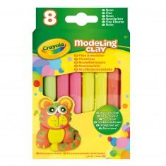 Pâte à modeler : 8 bâtons couleurs fluo