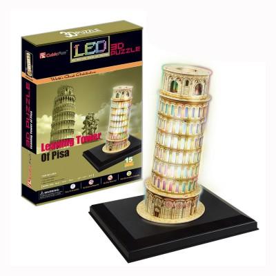 Puzzle 3 D 15 pièces Lumineux : Tour de Pise, Italie - Cubic-77779