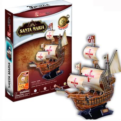 Puzzle 3D 113 pièces : Voilier Santa Maria - Cubic-78196