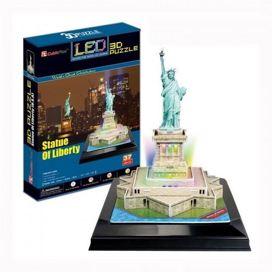 Puzzle 3D 37 pièces Lumineux : La statue de la Liberté, Etats Unis - Cubic-77782