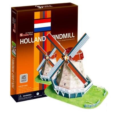 Puzzle 3D 45 pièces : Moulin à vent, Hollande - Cubic-77752