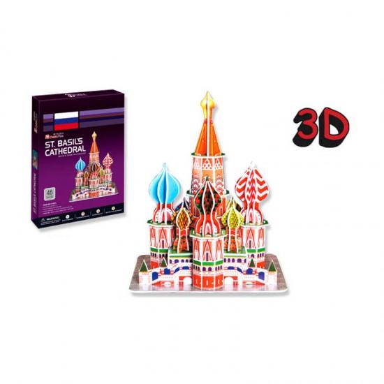 Puzzle 3D 46 pièces : Cathédrale Saint Basilique, Russie - Cubic-77719