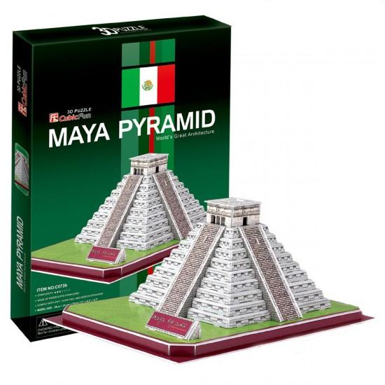 Puzzle 3D 48 pièces : Pyramide Maya, Mexique - Cubic-77744