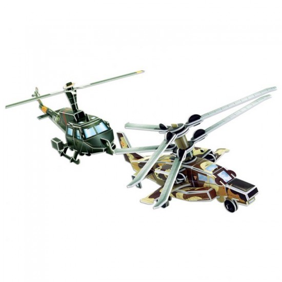 Puzzle 3D 66 pièces : Hélicoptères Huey UH-11 et KA-52 - Cubic-77710