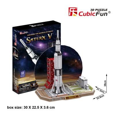Puzzle 3D 68 pièces : Saturne V Rocket - Cubic-79322