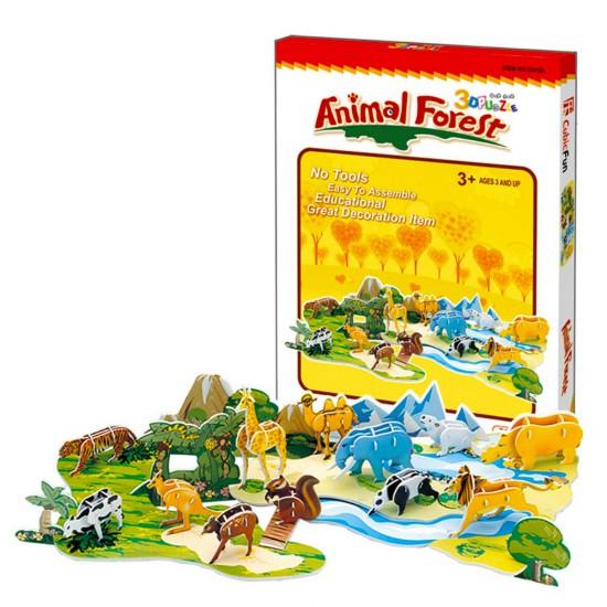 Puzzle 3D 71 pièces : Animaux de forêt - Cubic-77711