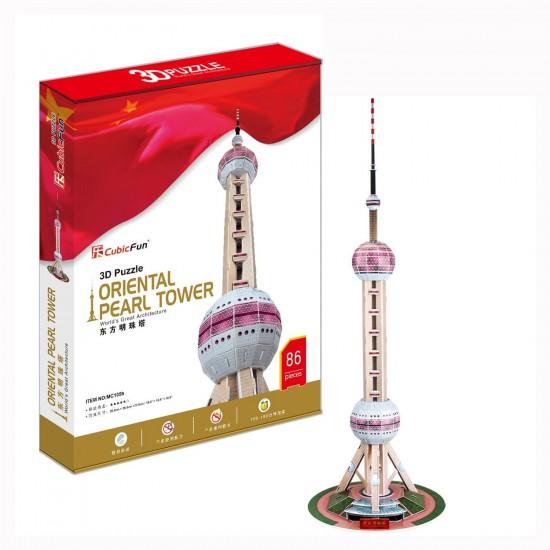 Puzzle 3D 86 pièces : Tour de la perle de l'Orient, Chine - Cubic-77769