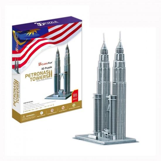 Puzzle 3D 88 pièces : Tours Petrona, Malaisie - Cubic-77765