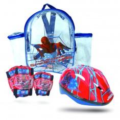 Set de protections : Casque, genouillères et coudières Spiderman