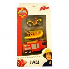 Set de 3 véhicules de secours Sam le pompier : Quad, bateau et camion de pompier