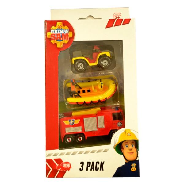 set de 3 v hicules de secours sam le pompier quad bateau et camion de pompier jeux et. Black Bedroom Furniture Sets. Home Design Ideas