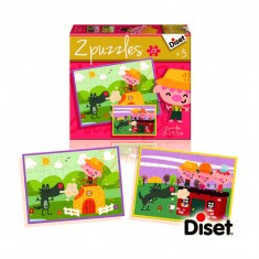 Puzzle 2 x 20 pièces : Puzzles contes : Les trois petits cochons